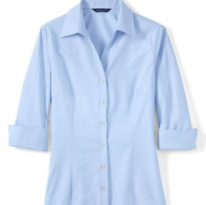 Lands End Women's 3/4 Sleeve Tonal Stripe Shirt